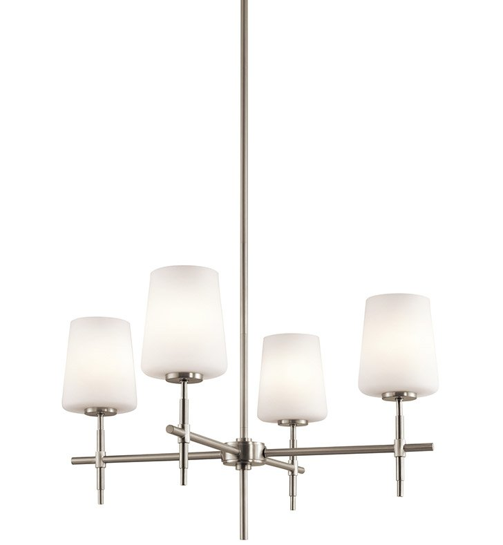Kichler 43085NI Arvella Collection Chandelier 4 Light in Brushed Nickel