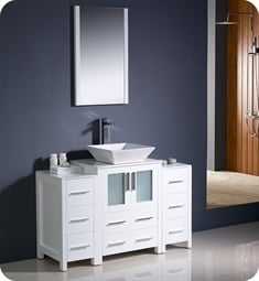 "Fresca FVN62-122412WH-VSL Torino 48"" Modern Bathroom Vanity with 2 Side Cabinets and Vessel Sink in White"