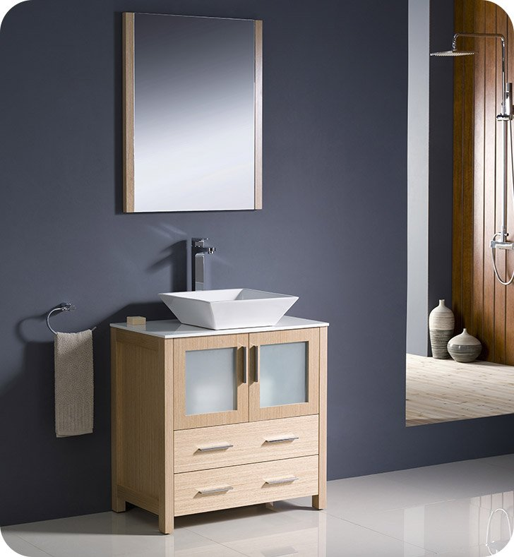 "Fresca FVN6230LO-VSL Torino 30"" Modern Bathroom Vanity with Vessel Sink in Light Oak"