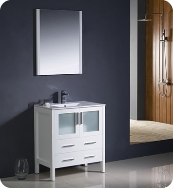"Fresca FVN6230WH-UNS Torino 30"" Modern Bathroom Vanity with Integrated Sink in White"