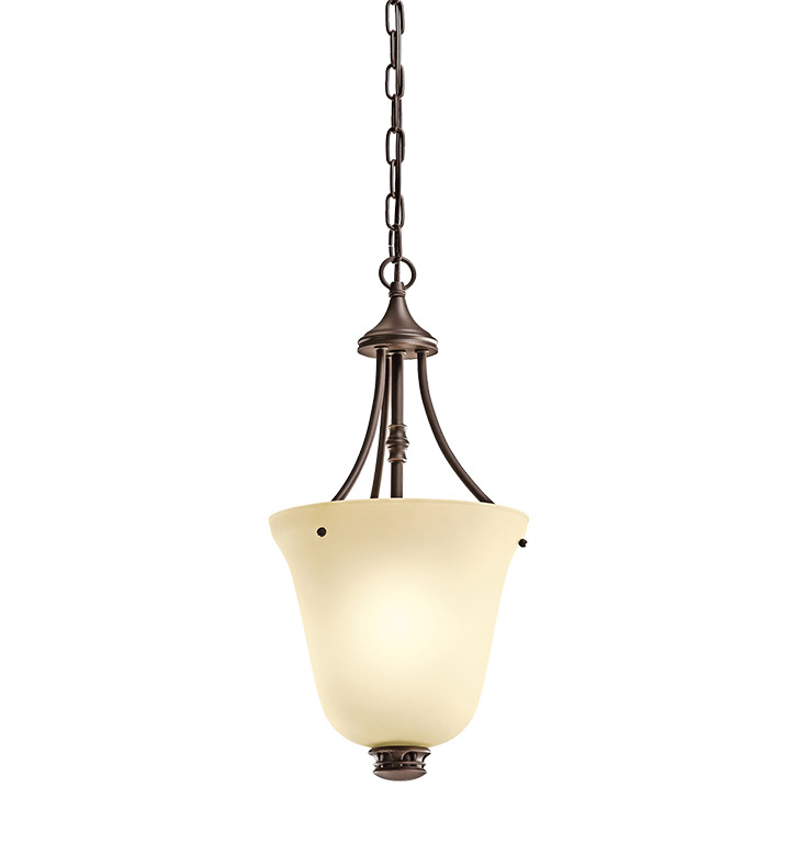 Kichler 42072OZ Durham Collection Foyer Pendant 1 Light in Olde Bronze