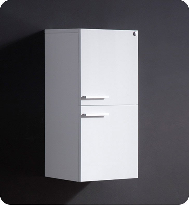 Fresca FST8091WH White Bathroom Linen Side Cabinet with 2 Storage Areas