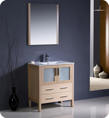 "Fresca FVN6230LO-UNS Torino 30"" Modern Bathroom Vanity with Integrated Sink in Light Oak"