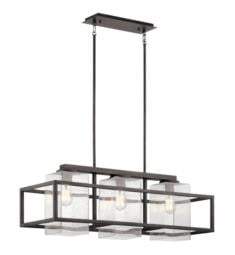 "Kichler 49805WZC Wright 3 Light 36"" Incandescent Outdoor Linear Chandelier in Weathered Zinc"