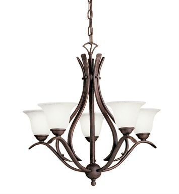Kichler 10320TZ Dover Collection Chandelier 5 Light Fluorescent in Tannery Bronze