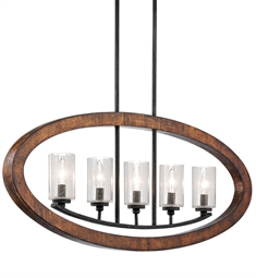 "Kichler 43186 Grand Bank 5 Light 36"" Incandescent Single Tier Linear Chandelier in Distressed Antique Gray"