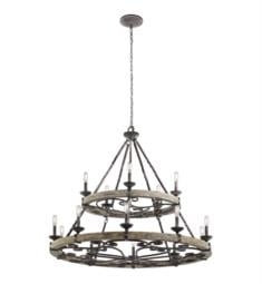 Kichler 43826WZC Taulbee 15 Light Incandescent Double Tier Chandelier in Weathered Zinc