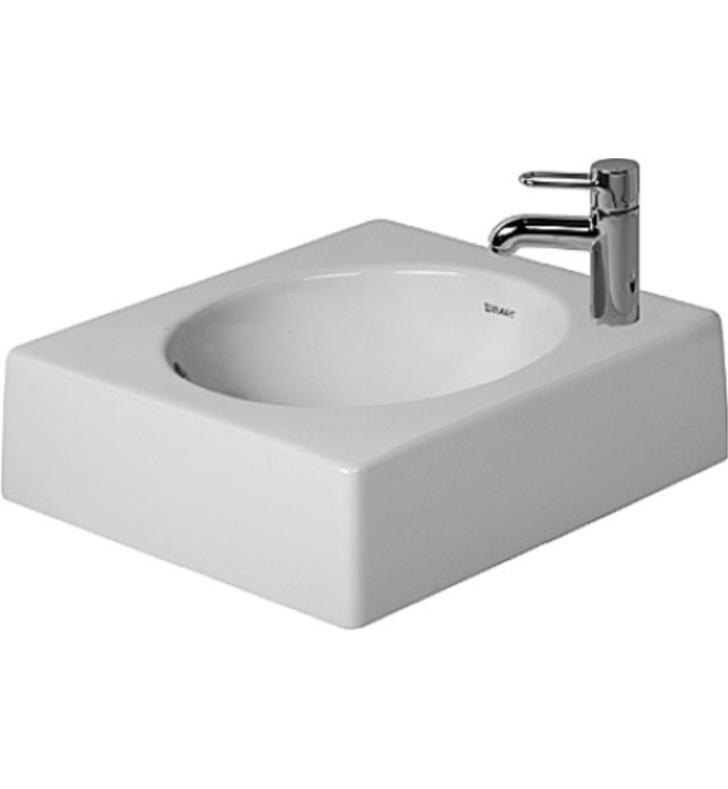 "Duravit 0320420009 Architec 16 5/8"" Vessel Bathroom Sink with Overflow and Tap Platform With WonderGliss Surface Finish: Without WonderGliss And Faucet Holes: Single Hole on Left Side"