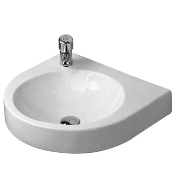 "Duravit 0449580009 Architec 22 5/8"" Wall Mount Bathroom Sink with Tap Platform With WonderGliss Surface Finish: Without WonderGliss And Faucet Holes: Single Hole on Left Side"