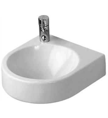 "Duravit 0766350008 Architec 14 1/4"" Wall Mount Bathroom Sink without Overflow and with Tap Platform With WonderGliss Surface Finish: Without WonderGliss And Faucet Holes: Single Hole on Right Side"