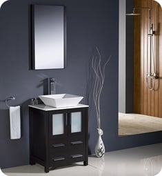 "Fresca FVN6224ES-VSL Torino 24"" Modern Bathroom Vanity with Vessel Sink in Espresso"