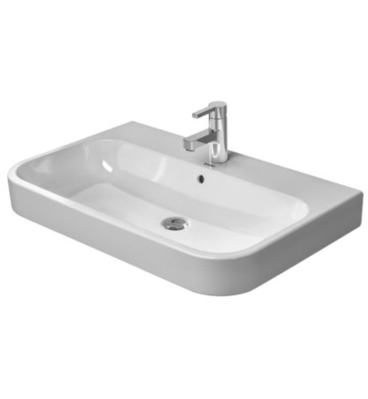 "Duravit 2318650000 Happy D.2 25 5/8"" Wall Mount Bathroom Sink with Overflow With Installation Type and Faucet Holes: Wall mount (Ungrounded) with 1 Faucet Hole And WonderGliss Surface Finish: Without WonderGliss"