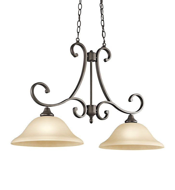 Kichler 43160OZ Monroe Collection Chandelier Island 2 Light in Olde Bronze