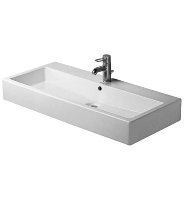 "Duravit 04541000241 Vero 39 3/8"" Wall Mount Bathroom Sink with Overflow and Tap Platform With Finish: White Alpin And Installation Type and Faucet Holes: Wall mount (Ungrounded) with 2 Faucet Holes And WonderGliss Surface Finish: With WonderGliss"