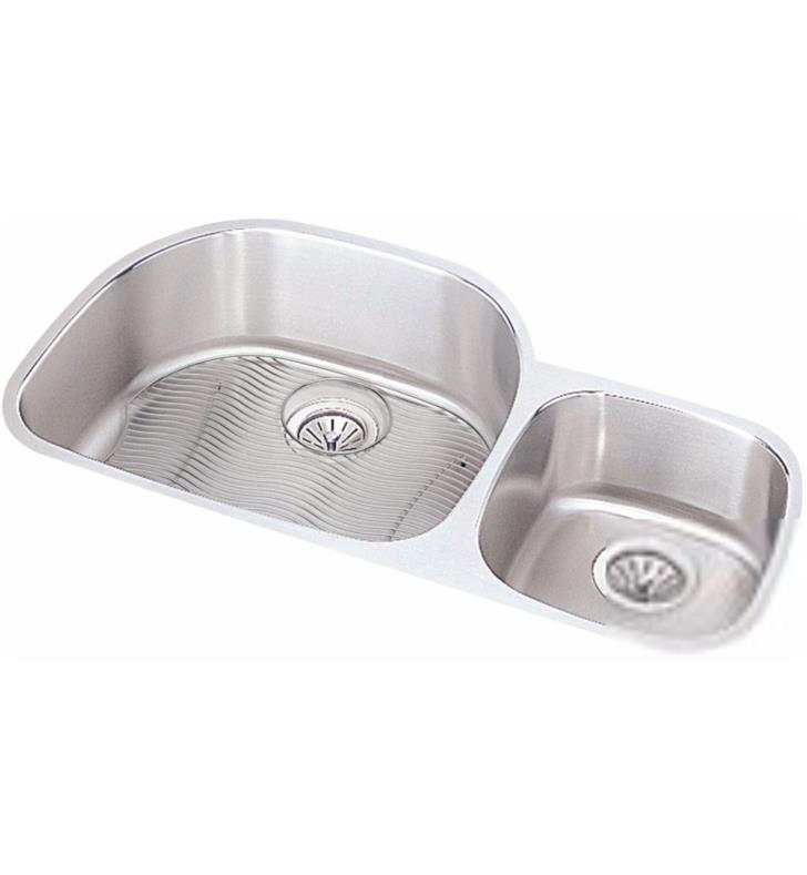 "Elkay ELUH3621RDBG Harmony 36 1/4"" Double Bowl Undermount Stainless Steel Kitchen Sink Right Side Small Bowl with Drain and Bottom Grid"