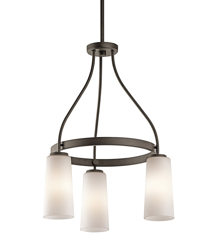 Kichler 42976OZ Whitley Collection Mini Chandelier 3 Light in Olde Bronze