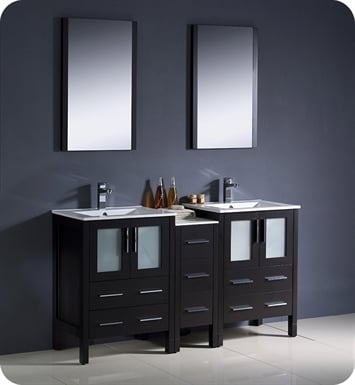 "Fresca FVN62-241224ES-UNS Torino 60"" Double Sink Modern Bathroom Vanity with Side Cabinet and Integrated Sinks in Espresso"