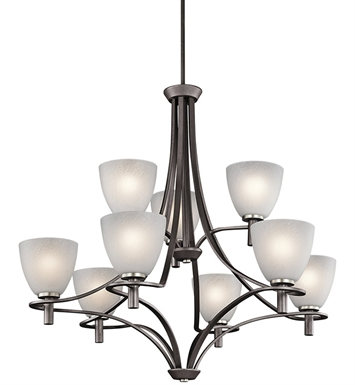 Kichler 43027AVI Neillo Collection Chandelier 9 Light in Anvil Iron