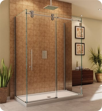 "Fleurco KT35536-35-40L-CH Kinetik in Line Door and Panel with Return Panel (Three Sided) With Dimensions: Width: 55 1/2"" to 57 1/2"" 