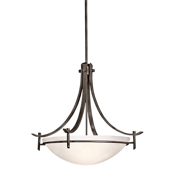 Kichler 3278OZW Olympia Collection Inverted Pendant 3 Light in Olde Bronze