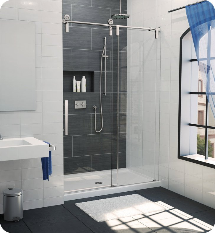 "Fleurco KS53-11-40R-CH Kinetik In Line Door and Panel (One Sided) With Dimensions: Width: 53"" to 55"" 