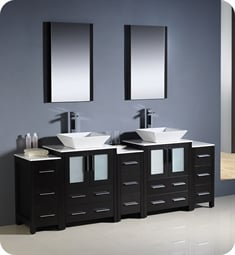 "Fresca FVN62-72ES-VSL Torino 84"" Double Sink Modern Bathroom Vanity with 3 Side Cabinets and Vessel Sinks in Espresso"