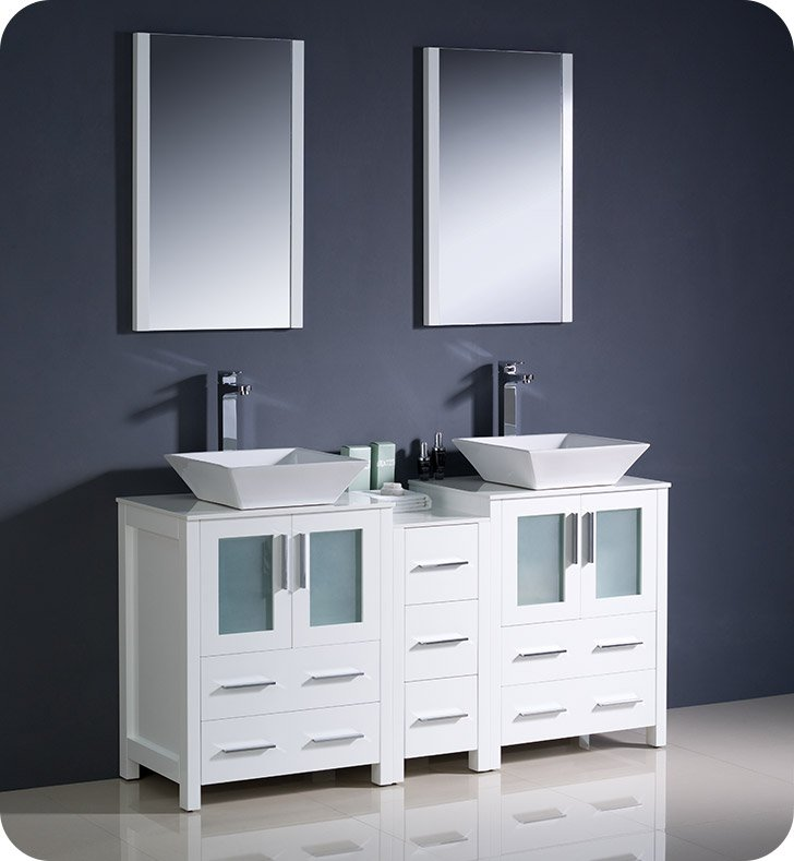 "Fresca FVN62-241224WH-VSL Torino 60"" Double Sink Modern Bathroom Vanity with Side Cabinet and Vessel Sinks in White"