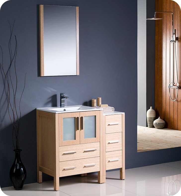 "Fresca FVN62-2412LO-UNS Torino 36"" Modern Bathroom Vanity with Side Cabinet and Integrated Sink in Light Oak"