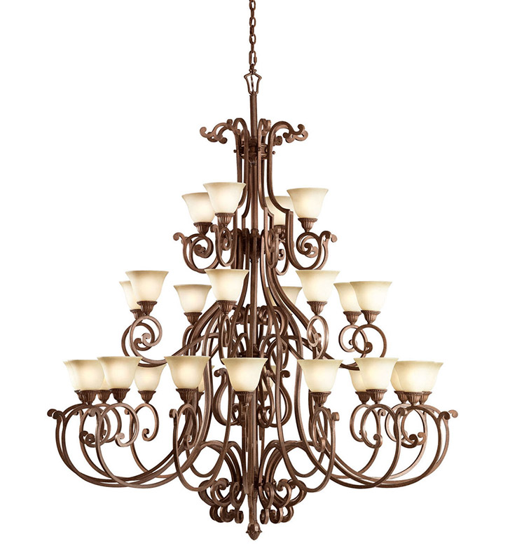 Kichler 2220TZG Larissa Collection Chandelier 28 Light in Tannery Bronze with Gold Accent