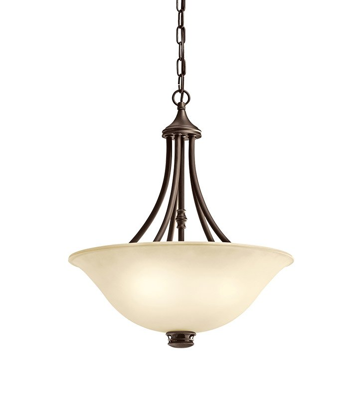 Kichler 42067OZ Durham Collection Inverted Pendant 3 Light in Olde Bronze