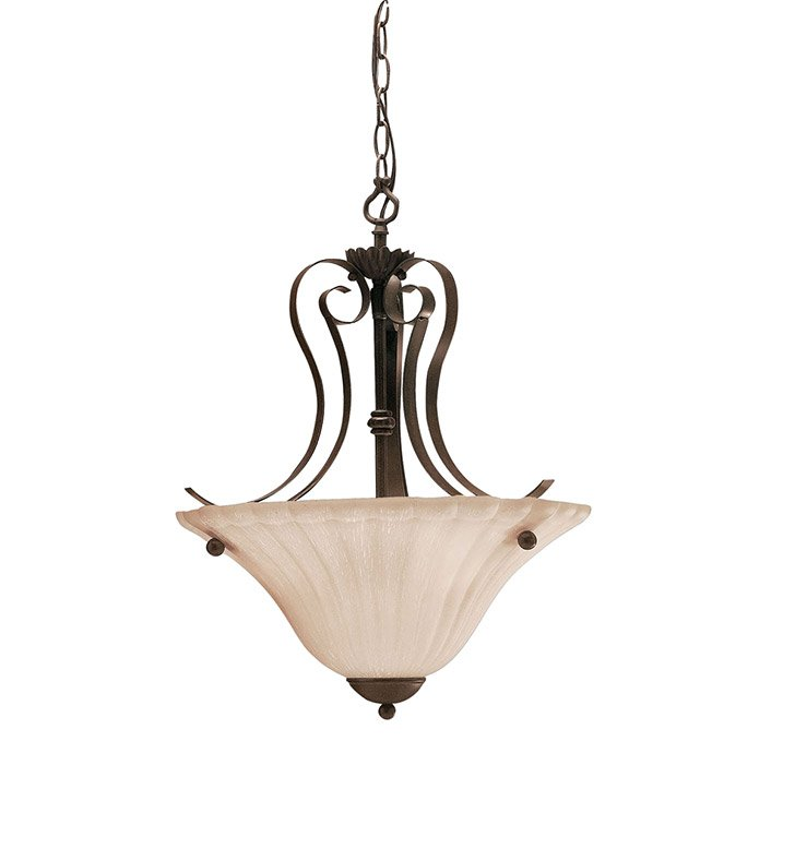 Kichler 3325TZ Willowmore Collection Inverted Pendant 2 Light in Tannery Bronze