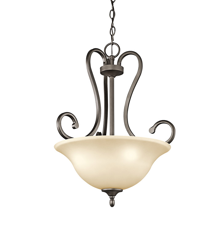 Kichler 43179OZ Feville Collection Inverted Pendant 3 Light in Olde Bronze