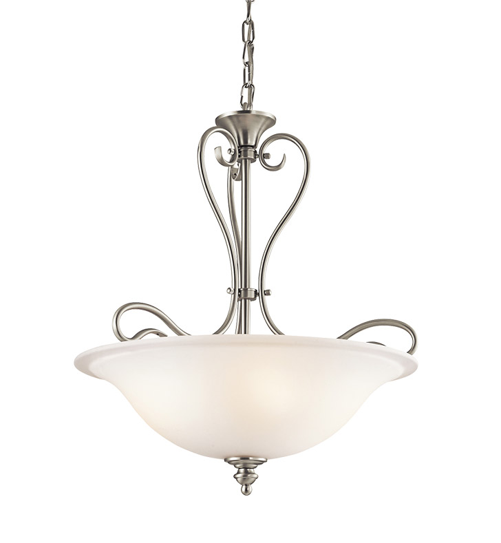 Kichler 42903NI Tanglewood Collection Inverted Pendant 3 Light Halogen in Brushed Nickel