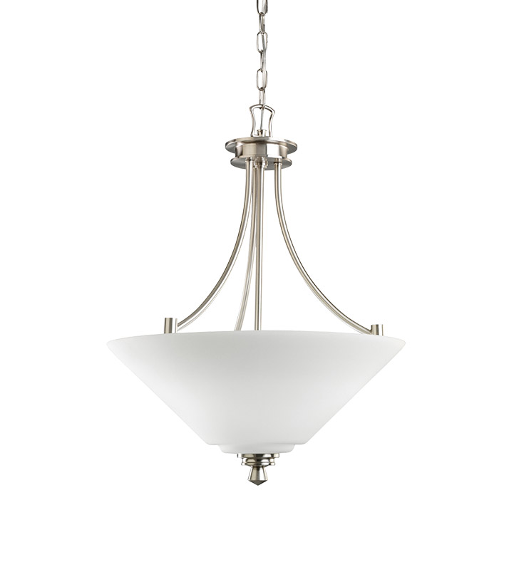 Kichler 3320NI Wharton Collection Inverted Pendant 3 Light in Brushed Nickel