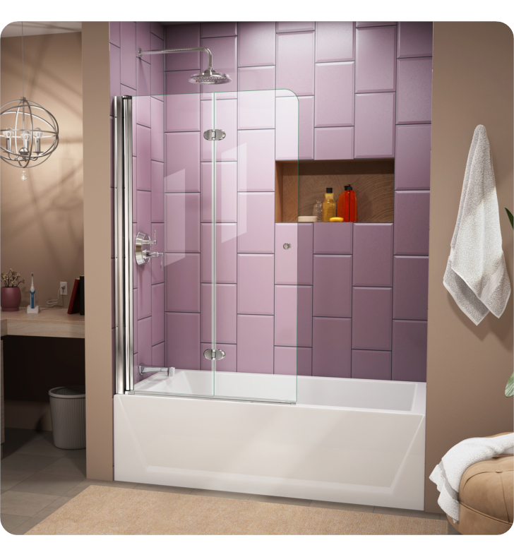 DreamLine SHDR-3636580-01 Aqua Fold 36 in. Frameless Hinged Tub Door