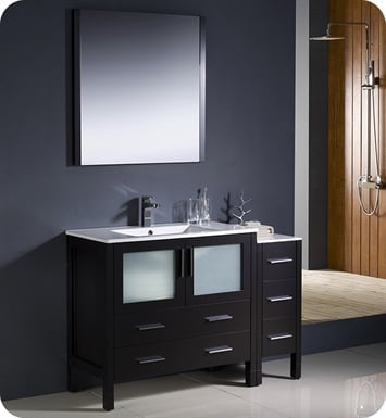 "Fresca FVN62-3612ES-UNS Torino 48"" Modern Bathroom Vanity with Side Cabinet and Integrated Sink in Espresso"