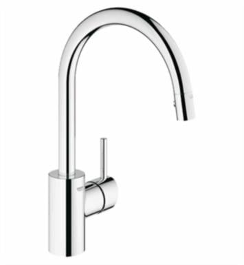 "Grohe 32665DC1 Concetto 15 1/8"" One Handle Deck Mounted Kitchen Faucet with 1 Function Locking Sprayer With Finish: Supersteel"