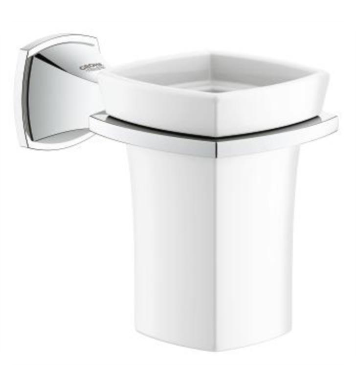 "Grohe 40626000 Grandera 3 1/8"" Wall Mount Toothbrush Holder Ceramic Tumbler With Finish: StarLight Chrome"
