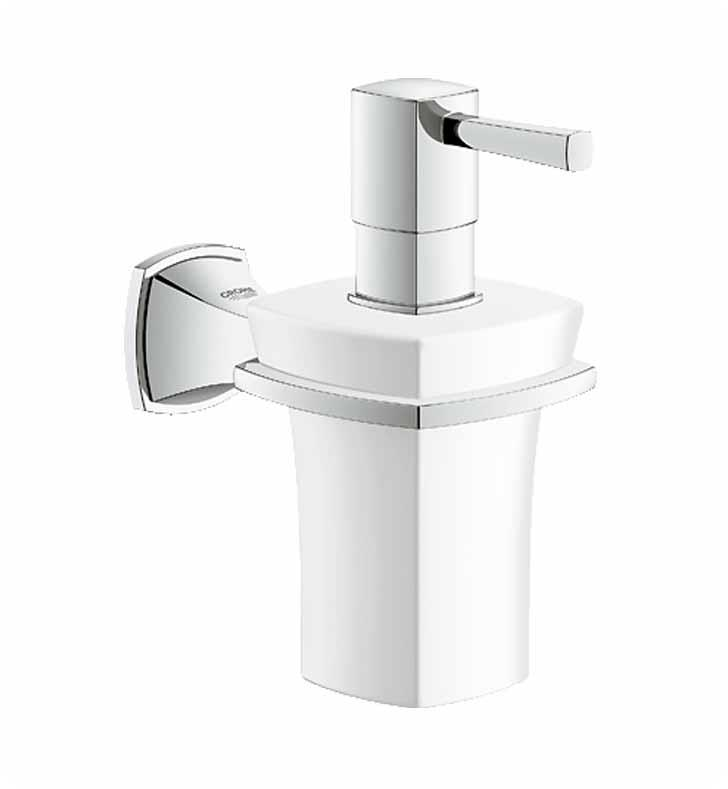 "Grohe 40627000 Grandera 3 1/8"" Wall Mount Soap Dispenser with Holder With Finish: StarLight Chrome"