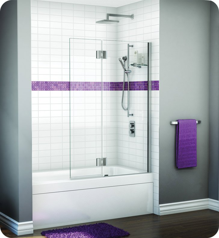 Fleurco VWGSH24-11-40R-M Evolution Monaco Square Top Tub Shield with Fixed Panel and Glass Shelf Support With Hardware Finish: Bright Chrome And Glass Type: Clear Glass And Door Direction: Right And Shower Door Hinges: Rectangular And Microtek Glass Protection: 2 Panels