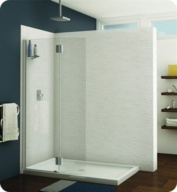 Fleurco VWXSS24-25-40L-R Evolution Monaco Square Top Shower Shield with Fixed Panel and Support Bar System With Hardware Finish: Brushed Nickel And Glass Type: Clear Glass And Door Direction: Left And Shower Door Hinges: Round And Microtek Glass Protection: 2 Panels