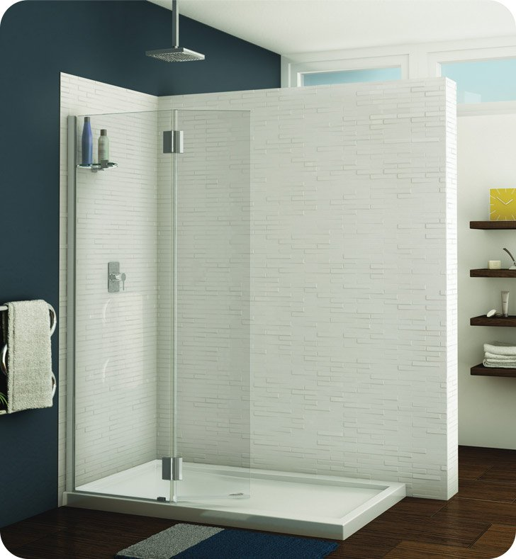 Fleurco VWXSS24-11-40R-M Evolution Monaco Square Top Shower Shield with Fixed Panel and Support Bar System With Hardware Finish: Bright Chrome And Glass Type: Clear Glass And Door Direction: Right And Shower Door Hinges: Rectangular And Microtek Glass Protection: 2 Panels