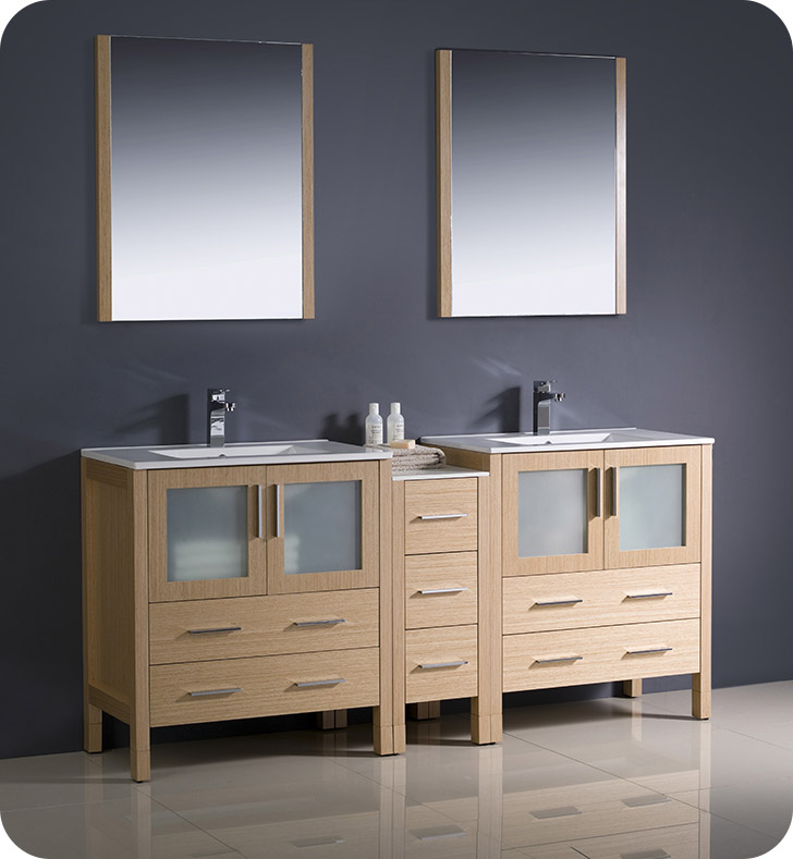 Fresca FVNLOUNS Torino Double Sink Modern Bathroom - 72 inch modern bathroom vanity