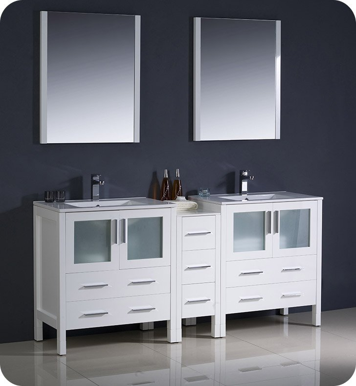 "Fresca FVN62-301230WH-UNS Torino 72"" Double Sink Modern Bathroom Vanity with Side Cabinet and Integrated Sinks in White"