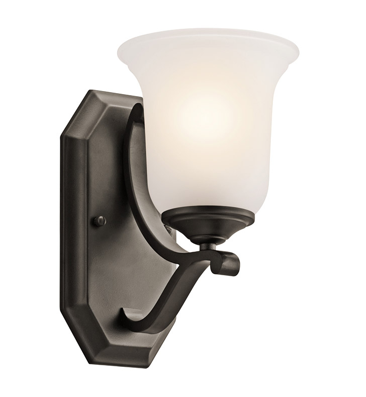 Kichler 45401OZ Wellington Square Collection Wall Sconce 1 Light in Olde Bronze