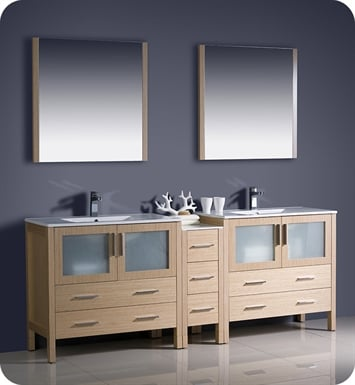 "Fresca FVN62-361236LO-UNS Torino 84"" Double Sink Modern Bathroom Vanity with Side Cabinet and Integrated Sinks in Light Oak"