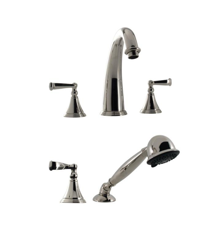 "Santec 2255CN10-TM Kriss I Roman Tub Filler Set With Hand Held Shower With ""CN"" Handles - (Uses P0003 Valve) With Finish: Polished Chrome <strong>(USUALLY SHIPS IN 2-3 WEEKS)</strong>"