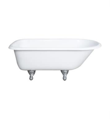 "Cambridge Plumbing RR55-NH-BN Cast Iron 54 1/2"" Freestanding Rolled Rim Clawfoot Bathtub With Tub Feet Finish: Brushed Nickel And Faucet Holes: No Faucet Drillings"