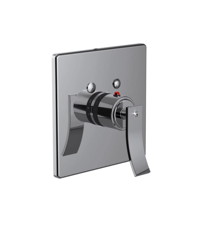 "Santec 7093CR91-TM Ava Crystal Thermostatic Shower - Trim Only with CR Handle (Includes 3/4"" Trim Plate and Handle, Requires Separate Volume Control) Valve Not Included Uses TH-5034 Valve With Finish: Matte Black <strong>(USUALLY SHIPS IN 4-5 WEEKS)</strong>"
