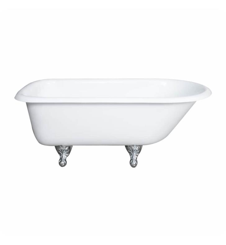 "Cambridge Plumbing RR61-NH-BN Cast Iron 60 1/2"" Freestanding Rolled Rim Clawfoot Bathtub With Finish: White And Tub Feet Finish: Brushed Nickel And Faucet Holes: No Faucet Drillings"